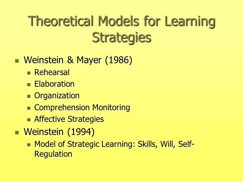 Theoretical Models for Learning Strategies Weinstein & Mayer (1986) Weinstein & Mayer (1986) Rehearsal Rehearsal Elaboration Elaboration Organization