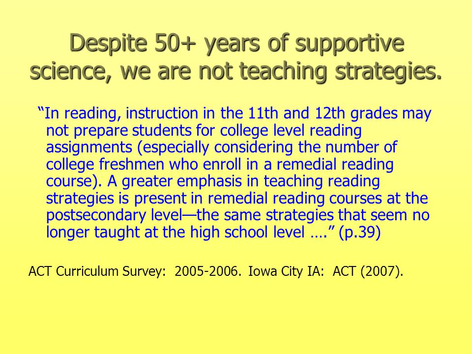 Even though these strategies for instruction are the most effective for the most learners, these may not work for everyone ….alternative approaches are available.
