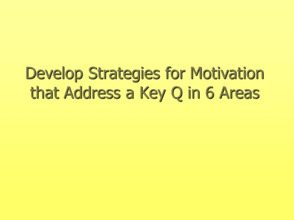 Develop Strategies for Motivation that Address a Key Q in 6 Areas
