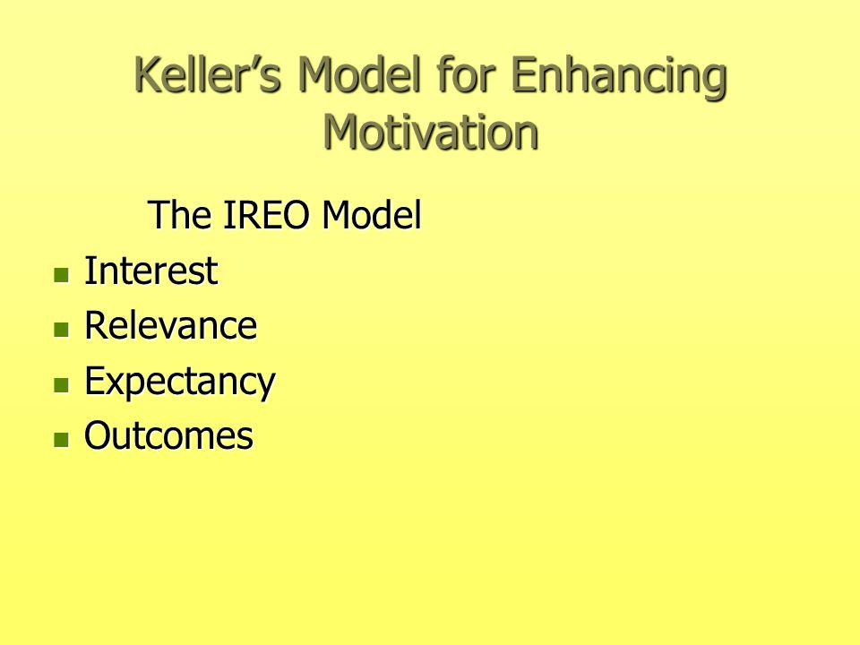 Keller's Model for Enhancing Motivation The IREO Model The IREO Model Interest Interest Relevance Relevance Expectancy Expectancy Outcomes Outcomes