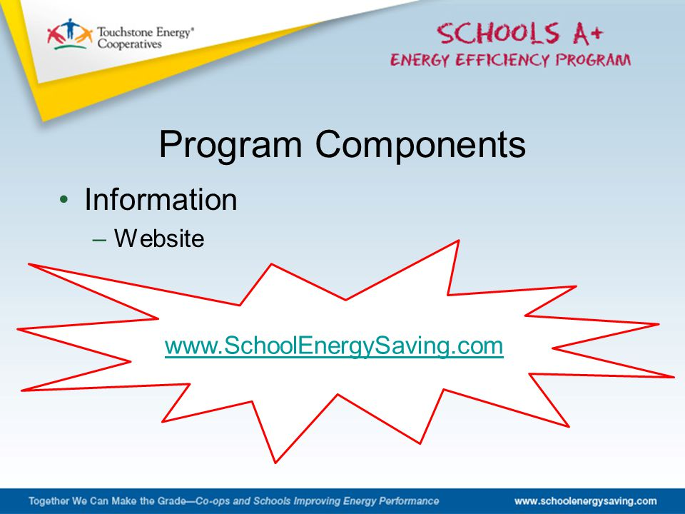 Information –Website Program Components www.SchoolEnergySaving.com
