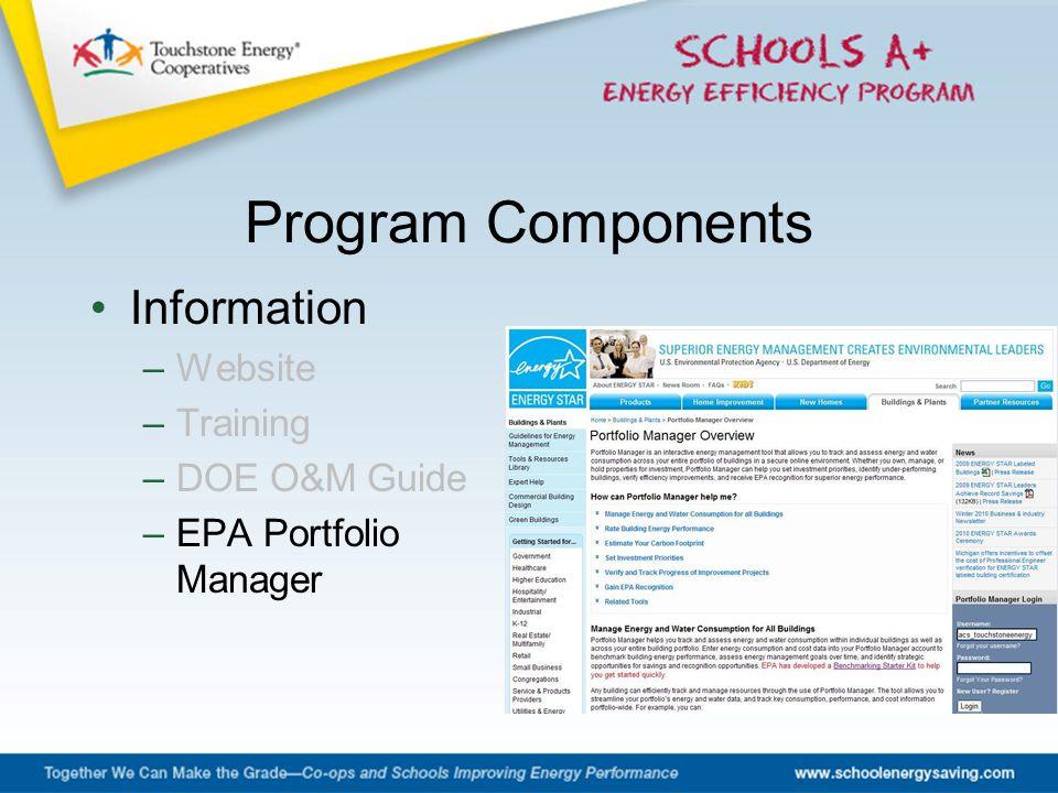 Information –Website –Training –DOE O&M Guide –EPA Portfolio Manager Program Components