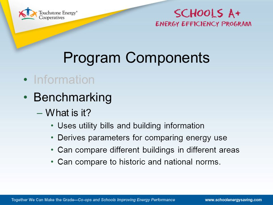 Information Benchmarking –What is it? Uses utility bills and building information Derives parameters for comparing energy use Can compare different bu