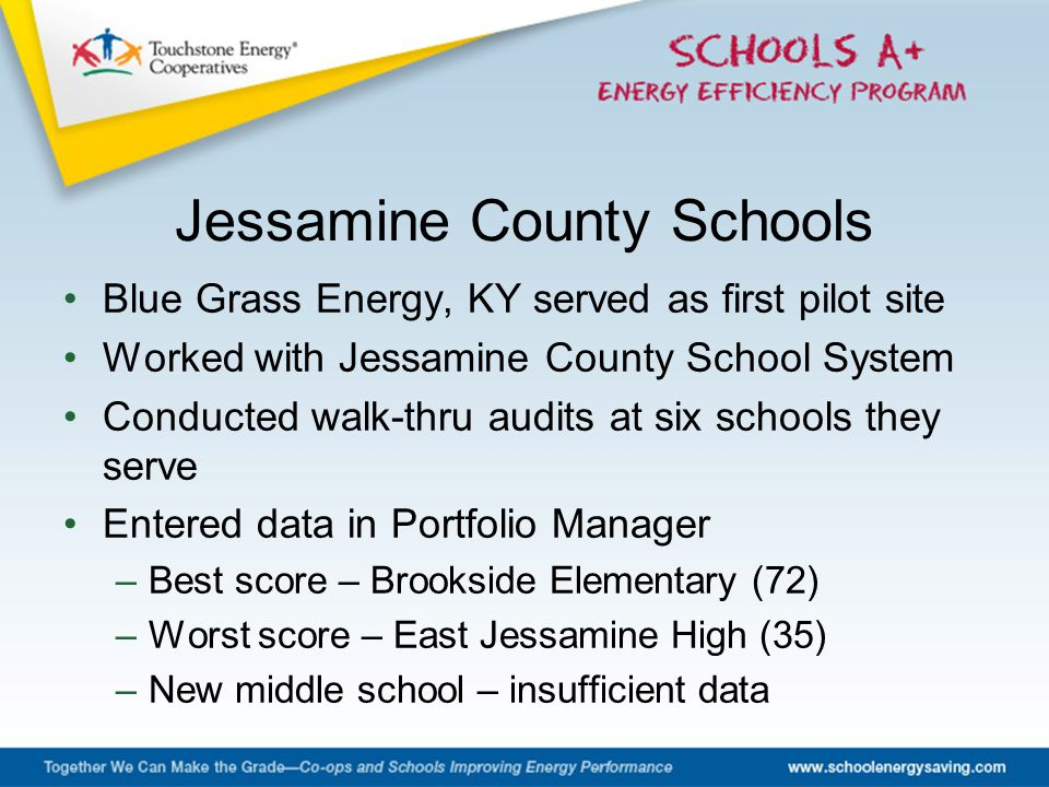 Blue Grass Energy, KY served as first pilot site Worked with Jessamine County School System Conducted walk-thru audits at six schools they serve Entered data in Portfolio Manager –Best score – Brookside Elementary (72) –Worst score – East Jessamine High (35) –New middle school – insufficient data Jessamine County Schools
