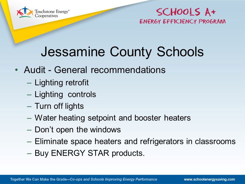 Audit - General recommendations –Lighting retrofit –Lighting controls –Turn off lights –Water heating setpoint and booster heaters –Don't open the win