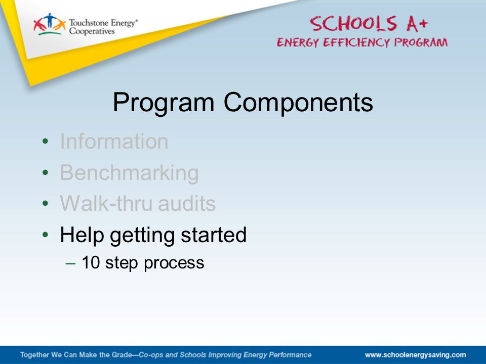 Information Benchmarking Walk-thru audits Help getting started –10 step process Program Components