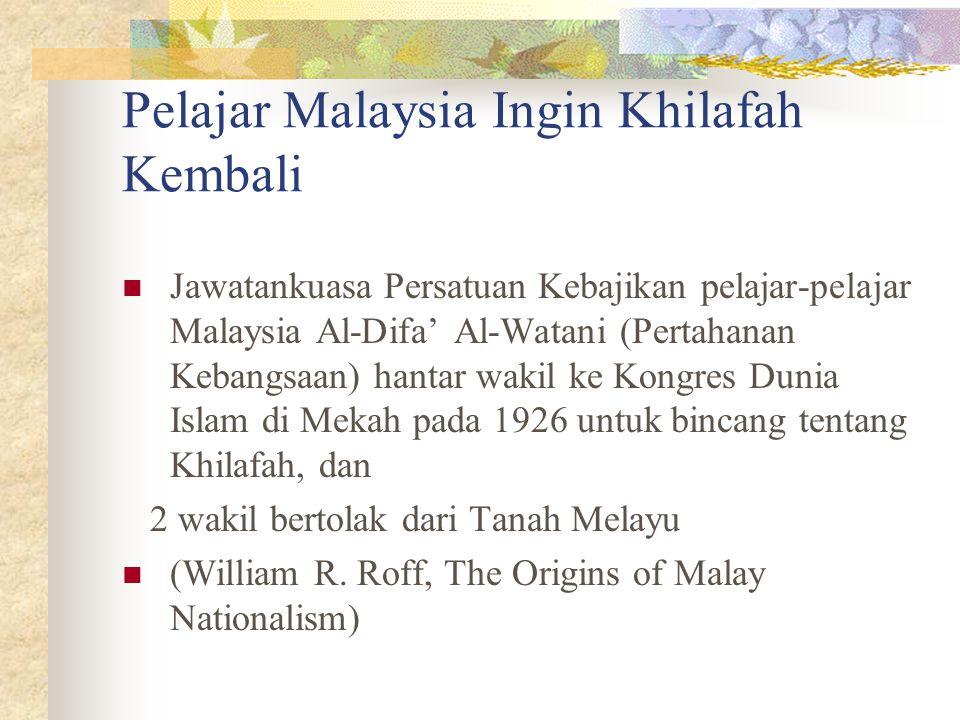 Pelajar Malaysia Ingin Khilafah Kembali Jawatankuasa Persatuan Kebajikan pelajar-pelajar Malaysia Al-Difa' Al-Watani (Pertahanan Kebangsaan) hantar wa