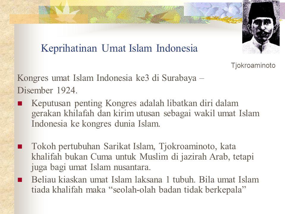 Keprihatinan Umat Islam Indonesia Kongres umat Islam Indonesia ke3 di Surabaya – Disember 1924. Keputusan penting Kongres adalah libatkan diri dalam g