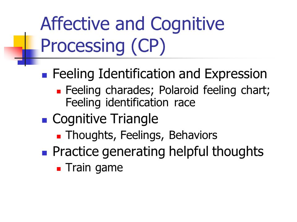 Affective and Cognitive Processing (CP) Feeling Identification and Expression Feeling charades; Polaroid feeling chart; Feeling identification race Co