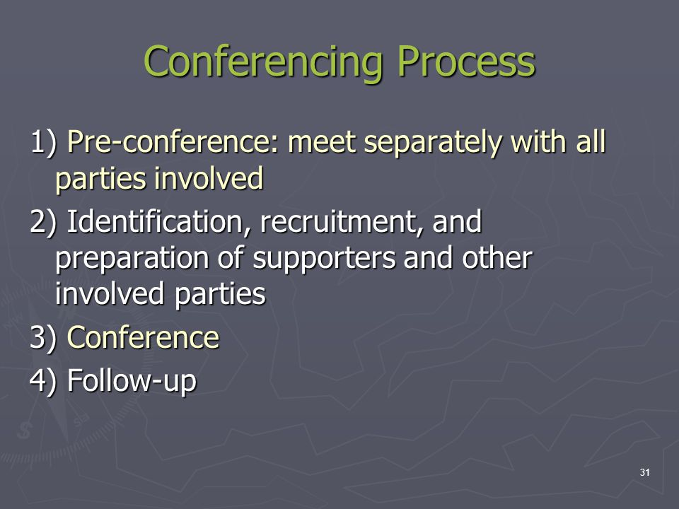 Conferencing Process 1) Pre-conference: meet separately with all parties involved 2) Identification, recruitment, and preparation of supporters and ot