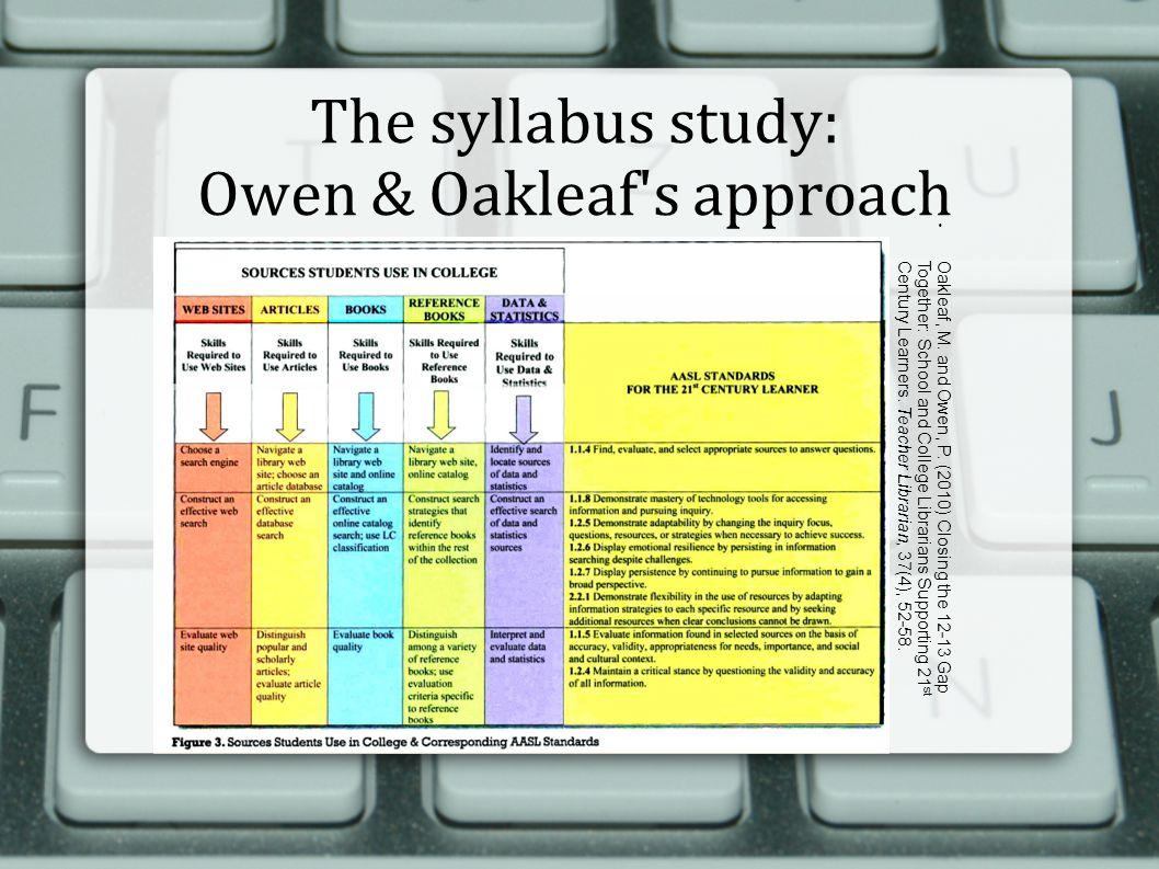 The syllabus study: Owen & Oakleaf s approach  Oakleaf, M.