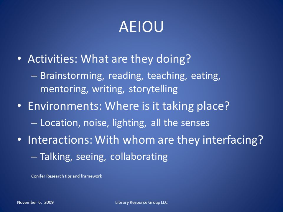AEIOU Activities: What are they doing? – Brainstorming, reading, teaching, eating, mentoring, writing, storytelling Environments: Where is it taking p