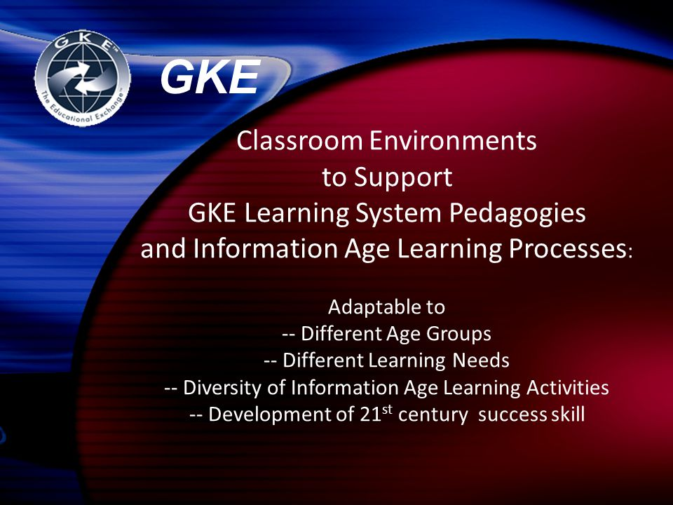 Classroom Environments to Support GKE Learning System Pedagogies and Information Age Learning Processes : Adaptable to -- Different Age Groups -- Diff