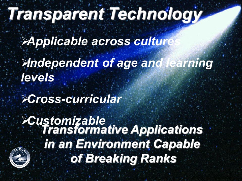 Transparent Technology  Applicable across cultures  Independent of age and learning levels  Cross-curricular  Customizable Transformative Applicat