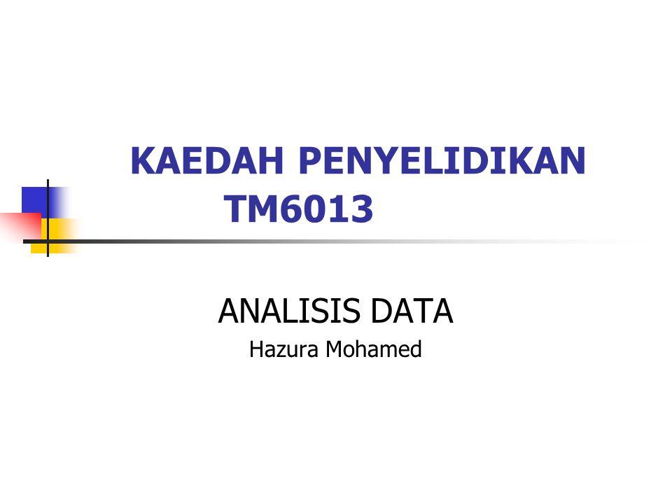 KAEDAH PENYELIDIKAN TM6013 ANALISIS DATA Hazura Mohamed