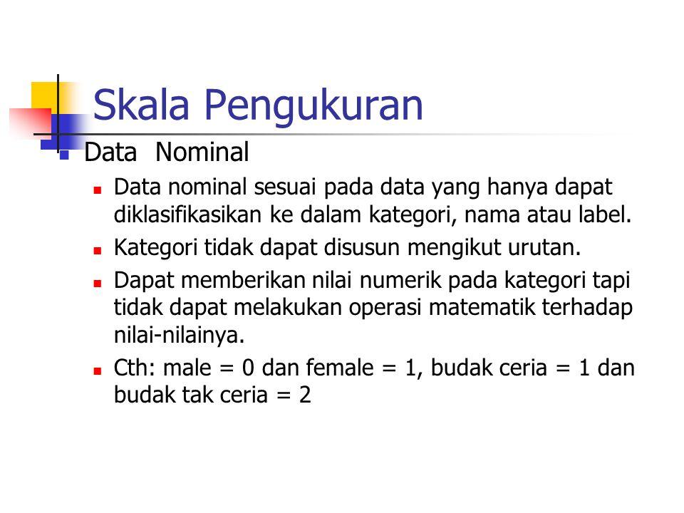 Skala Pengukuran Data Nominal Data nominal sesuai pada data yang hanya dapat diklasifikasikan ke dalam kategori, nama atau label. Kategori tidak dapat