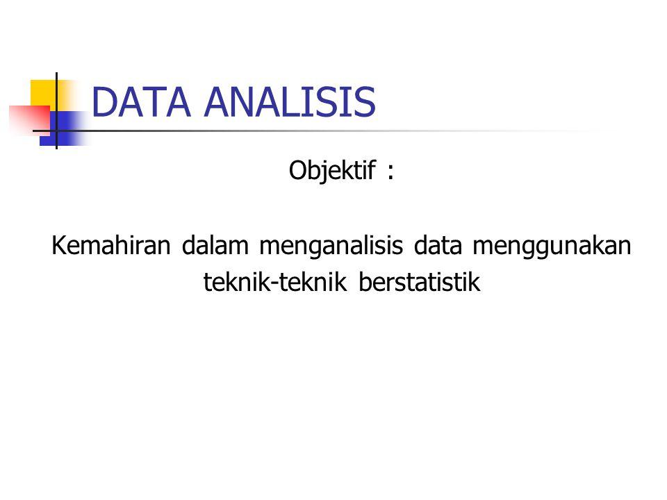 DATA ANALISIS Objektif : Kemahiran dalam menganalisis data menggunakan teknik-teknik berstatistik