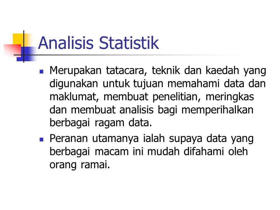 Analisis Statistik Merupakan tatacara, teknik dan kaedah yang digunakan untuk tujuan memahami data dan maklumat, membuat penelitian, meringkas dan mem