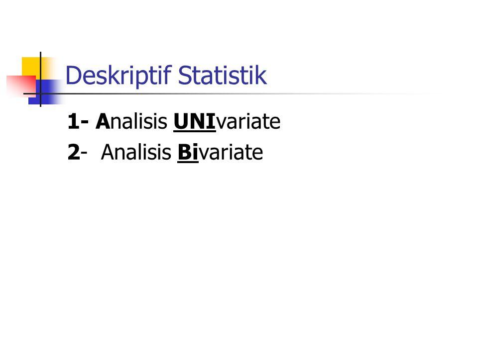 Deskriptif Statistik 1- Analisis UNIvariate 2- Analisis Bivariate