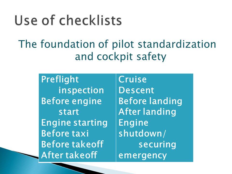The foundation of pilot standardization and cockpit safety Preflight inspection Before engine start Engine starting Before taxi Before takeoff After t
