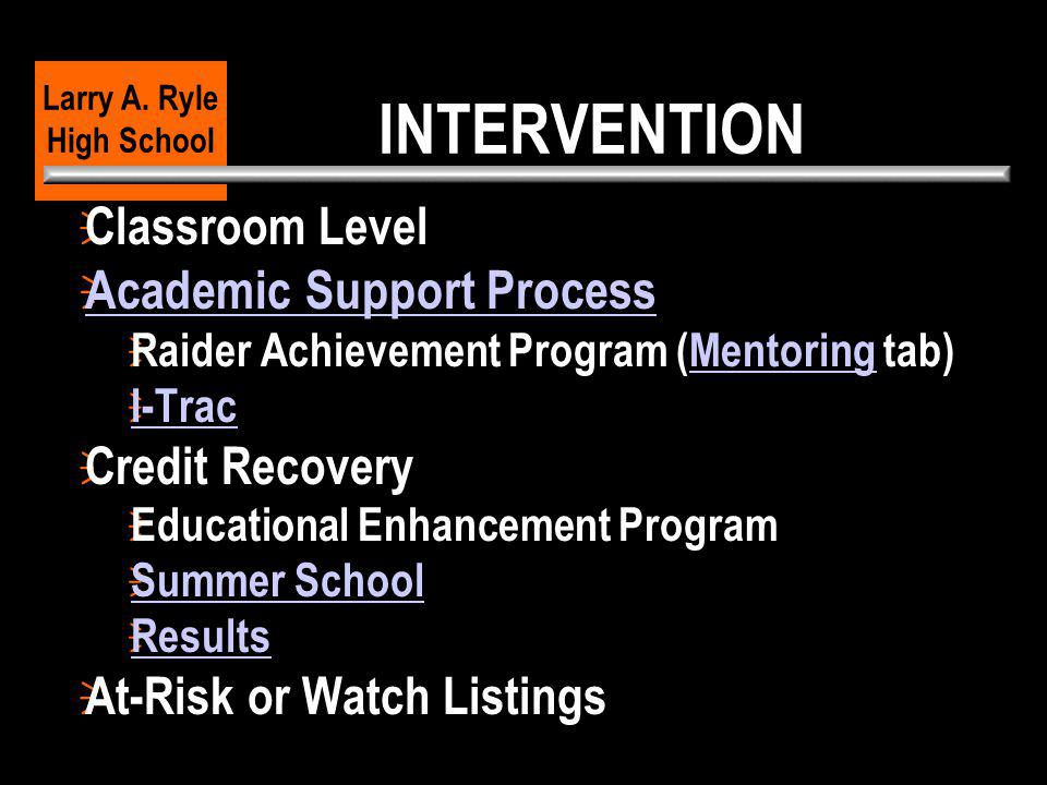 INTERVENTION  Classroom Level  Academic Support Process Academic Support Process  Raider Achievement Program (Mentoring tab)Mentoring  I-Trac I-Tr