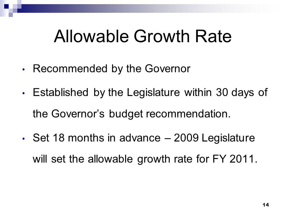 14 Allowable Growth Rate Recommended by the Governor Established by the Legislature within 30 days of the Governor's budget recommendation. Set 18 mon