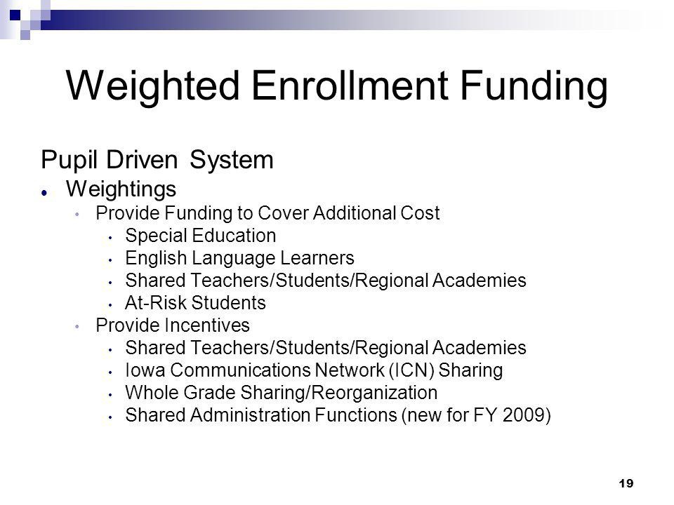 19 Weighted Enrollment Funding Pupil Driven System Weightings Provide Funding to Cover Additional Cost Special Education English Language Learners Sha