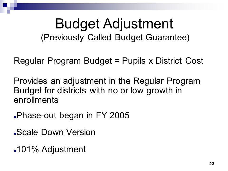 23 Budget Adjustment (Previously Called Budget Guarantee) Regular Program Budget = Pupils x District Cost Provides an adjustment in the Regular Progra