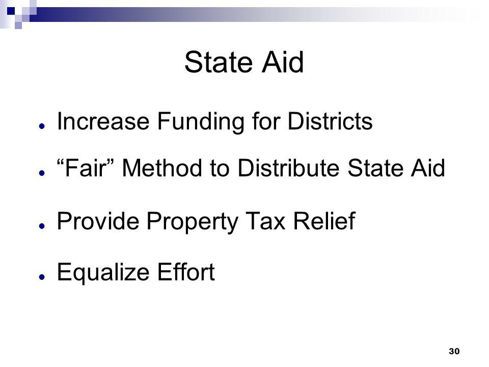 """30 State Aid Increase Funding for Districts """"Fair"""" Method to Distribute State Aid Provide Property Tax Relief Equalize Effort"""