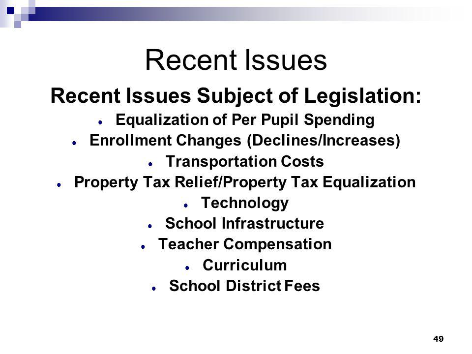 49 Recent Issues Recent Issues Subject of Legislation: Equalization of Per Pupil Spending Enrollment Changes (Declines/Increases) Transportation Costs