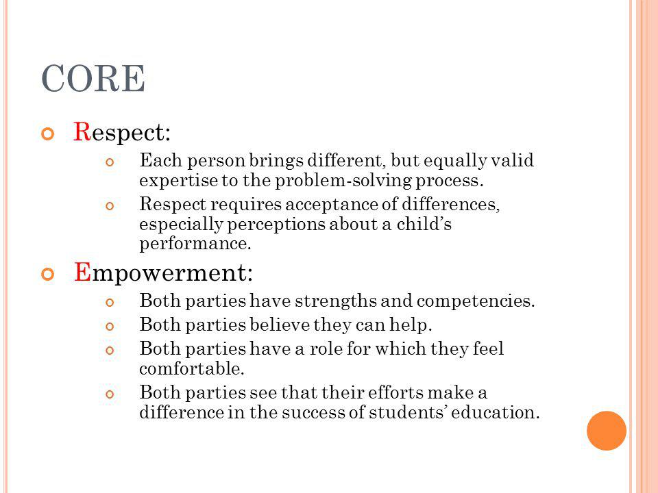 CORE Respect: Each person brings different, but equally valid expertise to the problem-solving process.