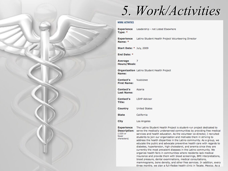 5. Work/Activities