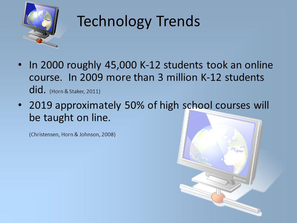 Technology Trends In 2000 roughly 45,000 K-12 students took an online course.