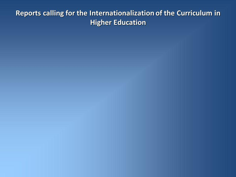 Reports calling for the Internationalization of the Curriculum in Higher Education