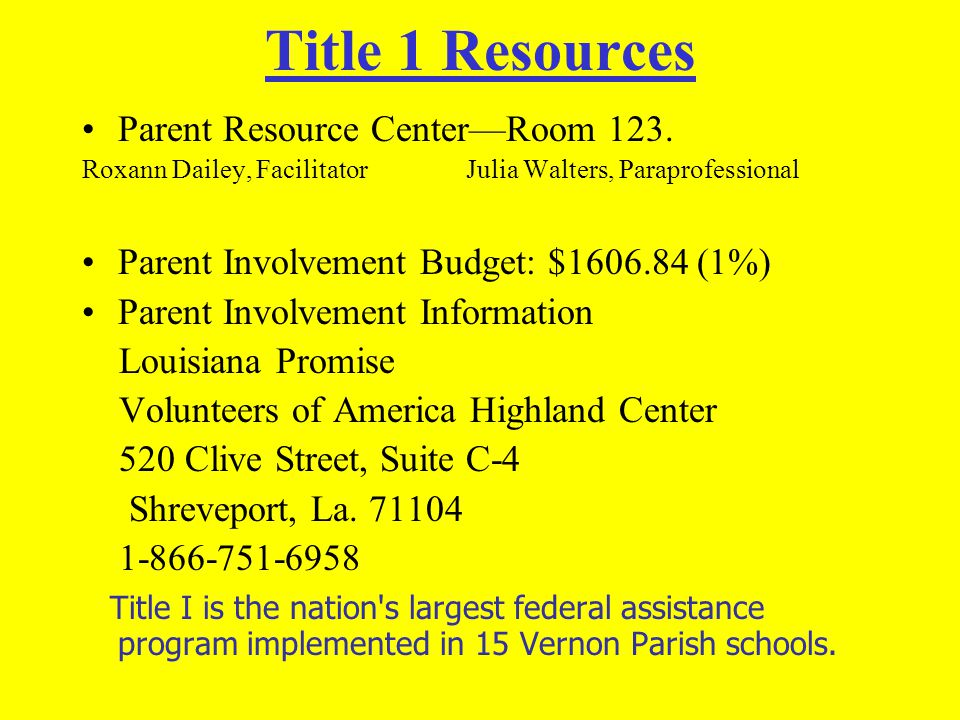 Title 1 Resources Parent Resource Center—Room 123.