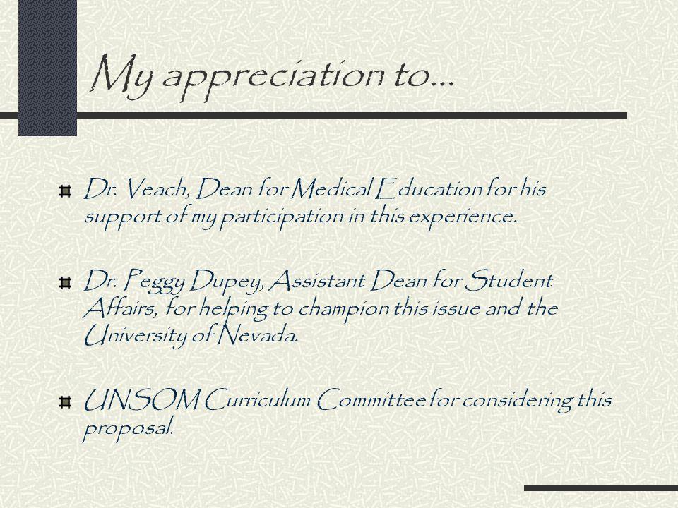 My appreciation to… Dr.