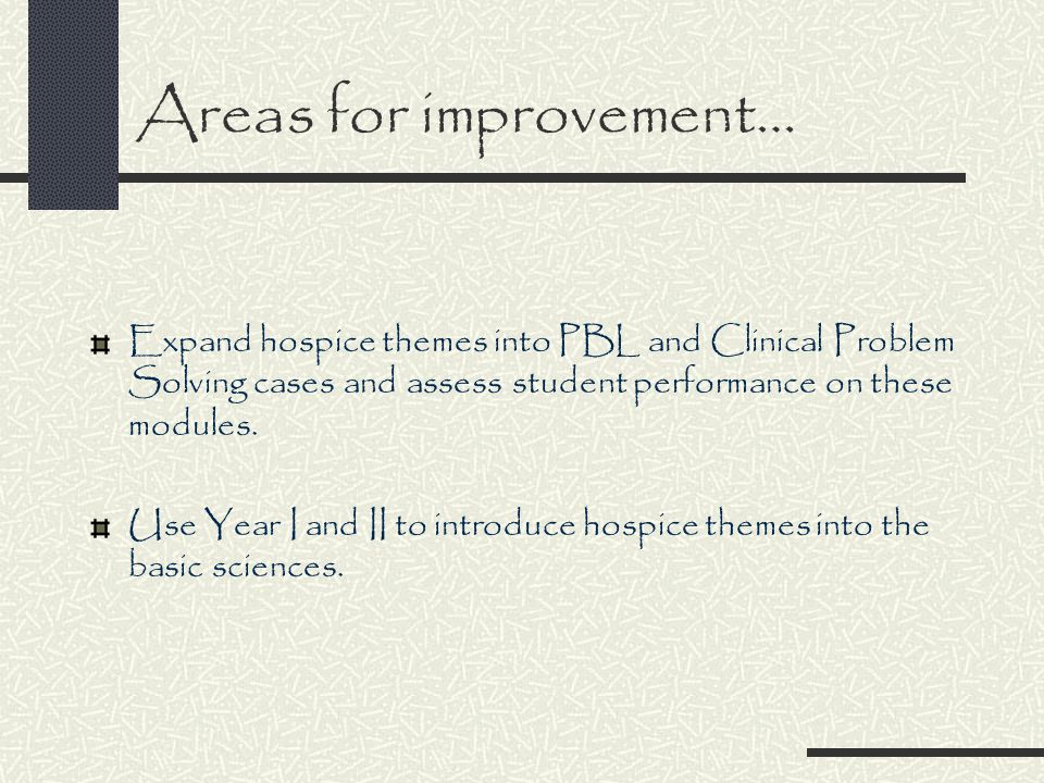 Areas for improvement… Identify and modify existing learning issues in hospice and palliative care which are ineffective.