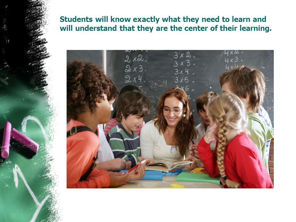 Students will know exactly what they need to learn and will understand that they are the center of their learning.