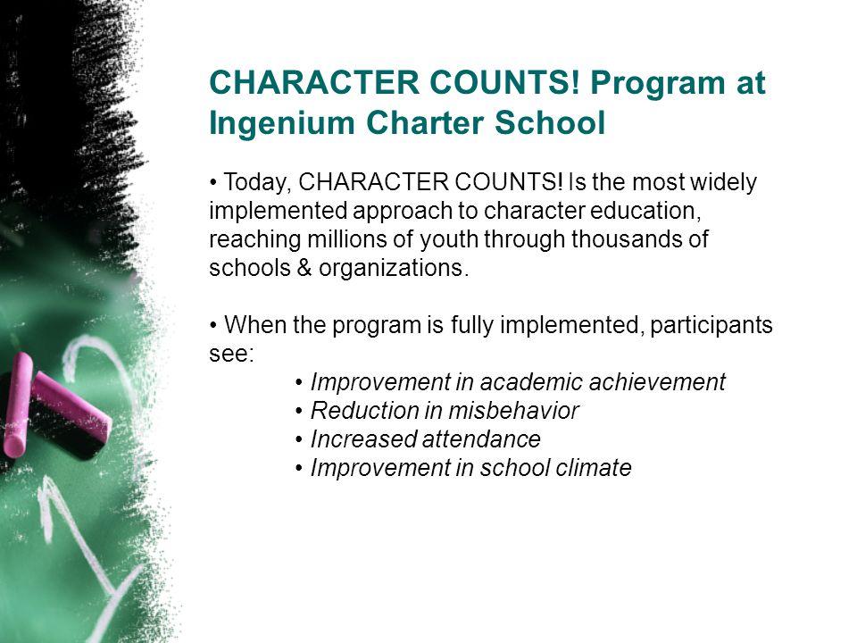 CHARACTER COUNTS. Program at Ingenium Charter School Today, CHARACTER COUNTS.