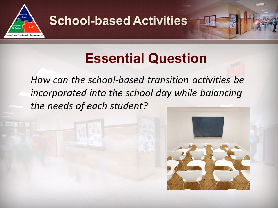 How can the school-based transition activities be incorporated into the school day while balancing the needs of each student? Essential Question