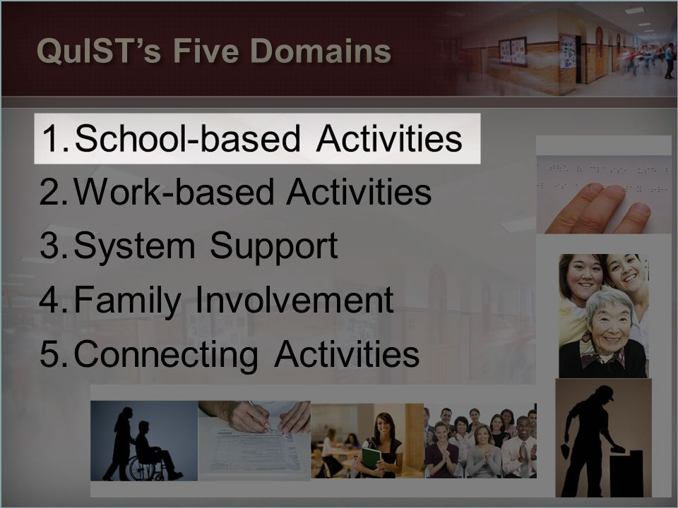 1.School-based Activities 2.Work-based Activities 3.System Support 4.Family Involvement 5.Connecting Activities