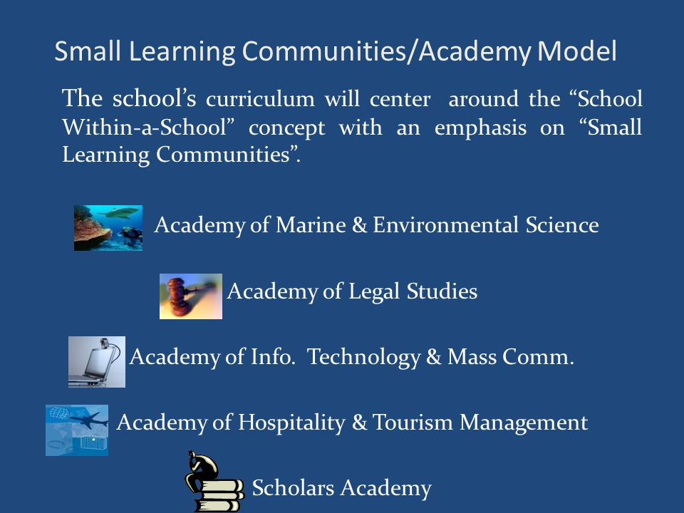 Small Learning Communities/Academy Model The school's curriculum will center around the School Within-a-School concept with an emphasis on Small Learning Communities .