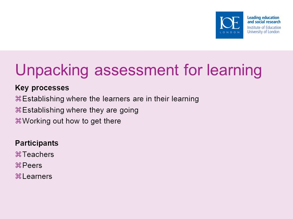 Unpacking assessment for learning Key processes  Establishing where the learners are in their learning  Establishing where they are going  Working out how to get there Participants  Teachers  Peers  Learners