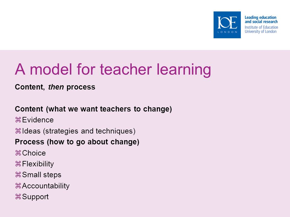 A model for teacher learning Content, then process Content (what we want teachers to change)  Evidence  Ideas (strategies and techniques) Process (how to go about change)  Choice  Flexibility  Small steps  Accountability  Support