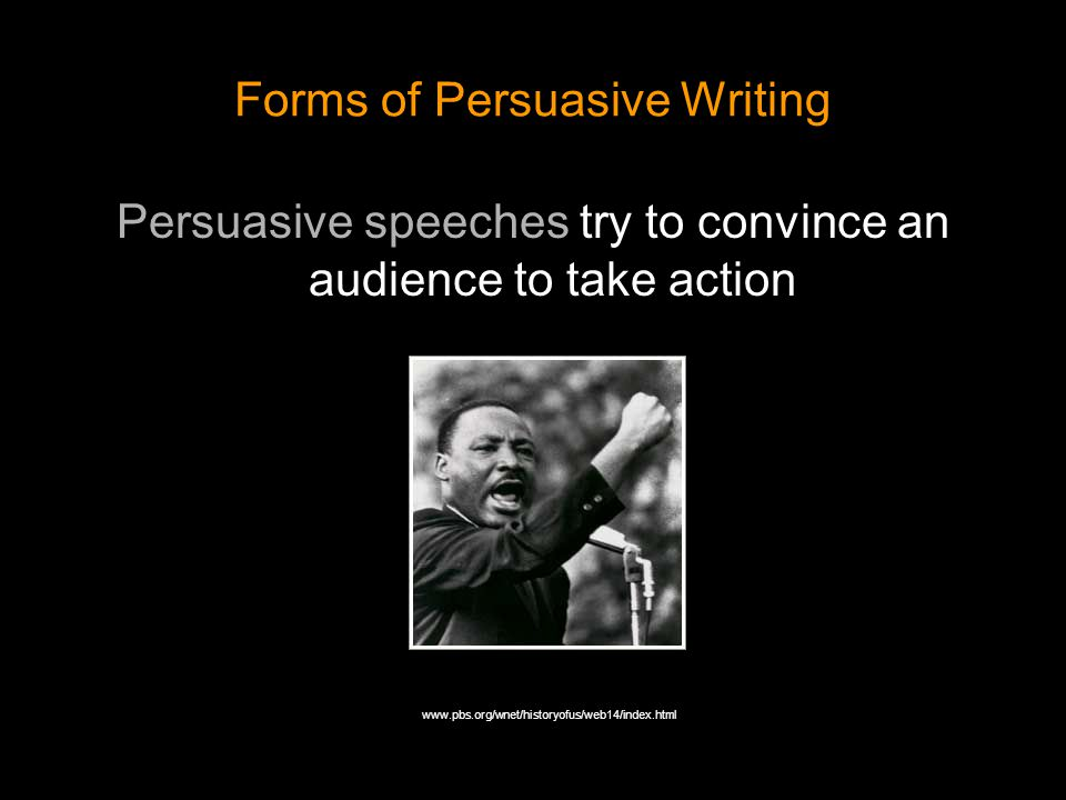 Forms of Persuasive Writing Propaganda is often about political issues, and usually includes emotionally charged appeals.