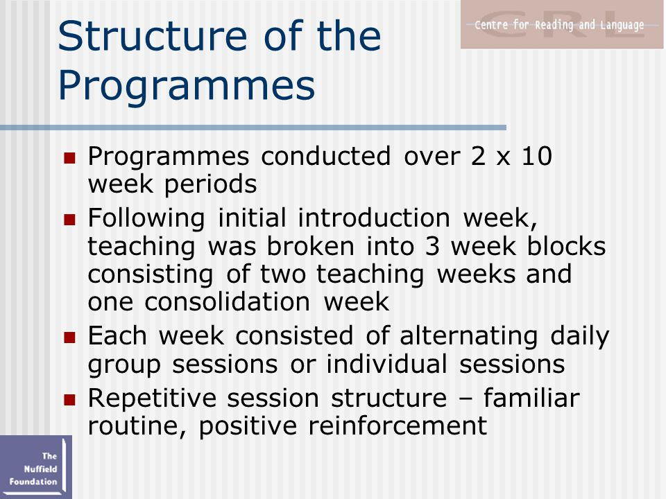 Structure of the Programmes Programmes conducted over 2 x 10 week periods Following initial introduction week, teaching was broken into 3 week blocks consisting of two teaching weeks and one consolidation week Each week consisted of alternating daily group sessions or individual sessions Repetitive session structure – familiar routine, positive reinforcement