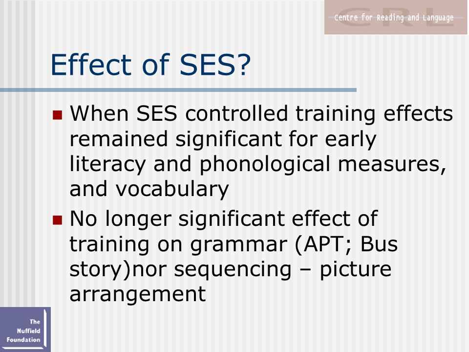 Effect of SES.