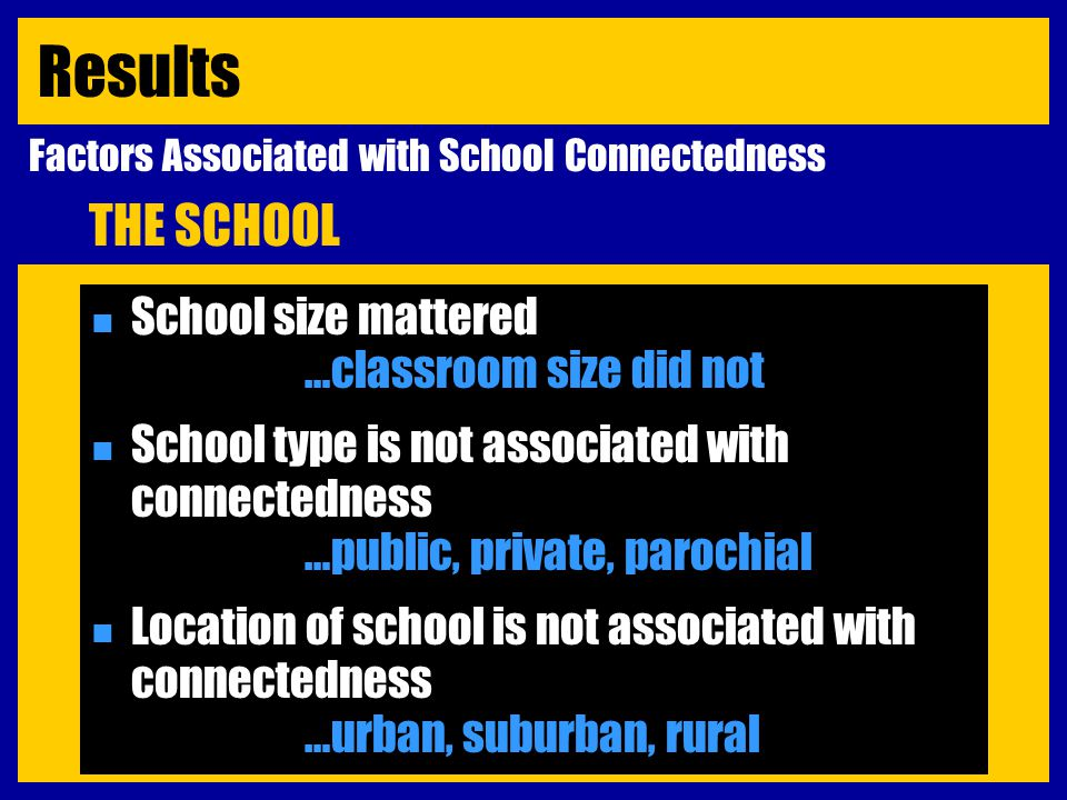 n School size mattered …classroom size did not n School type is not associated with connectedness …public, private, parochial n Location of school is