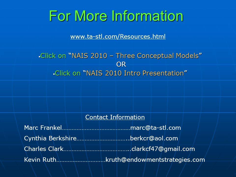 For More Information  Click on NAIS 2010 – Three Conceptual Models OR OR  Click on NAIS 2010 Intro Presentation www.ta-stl.com/Resources.html Contact Information Marc Frankel……………………………………marc@ta-stl.com Cynthia Berkshire…………………………..berkcr@aol.com Charles Clark…………………………………..clarkcf47@gmail.com Kevin Ruth…………………………kruth@endowmentstrategies.com