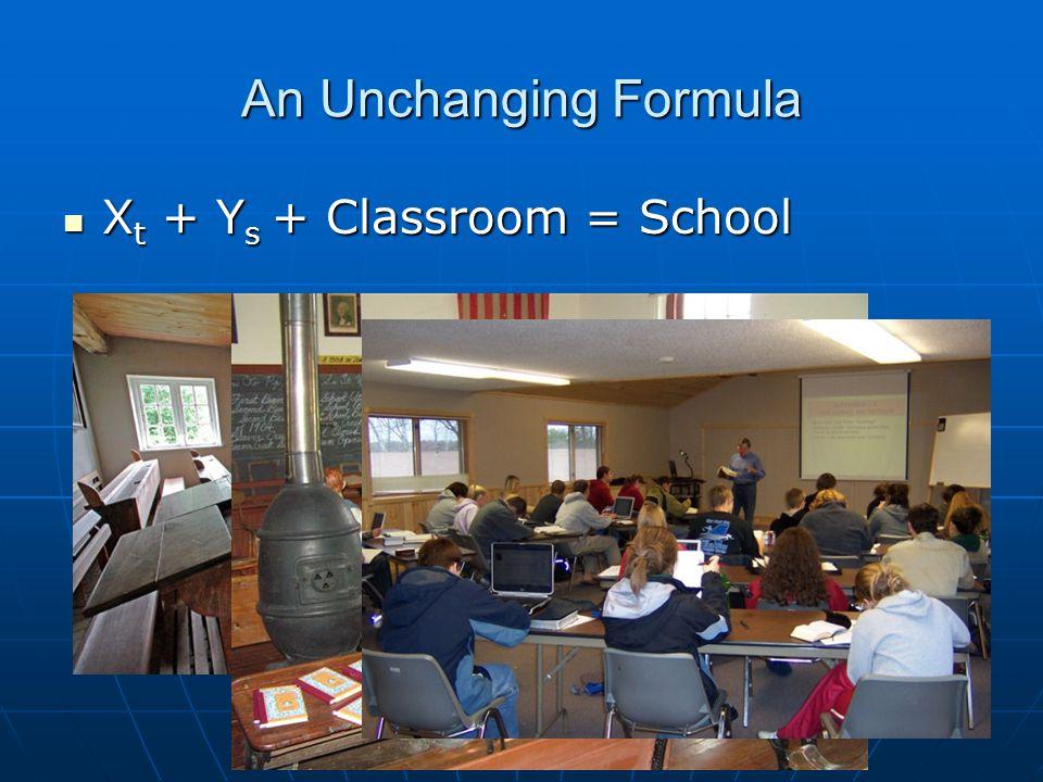 An Unchanging Formula X t + Y s + Classroom = School X t + Y s + Classroom = School